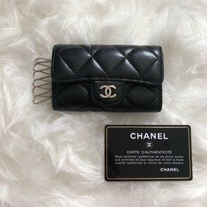 Chanel 6 Ring Key Holder Silver Hardware Lambskin